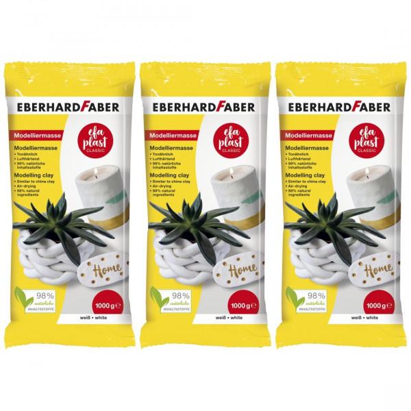 3 x EFA Plast classic Modelliermasse 1kg weiß von Eberhard Faber