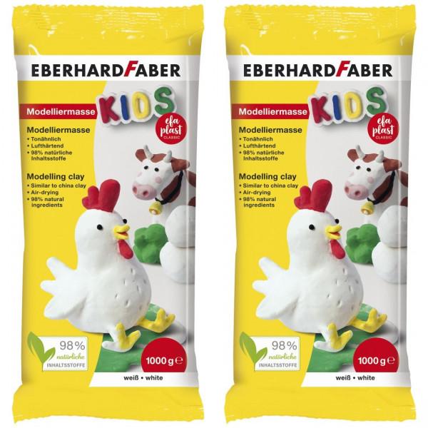 2 x EFA Plast Kids Modelliermasse 1kg weiß von Eberhard Faber