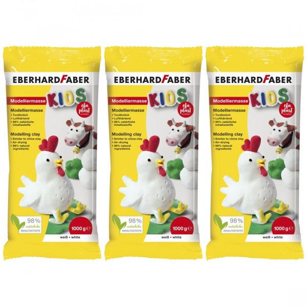 3 x EFA Plast Kids Modelliermasse 1kg weiß von Eberhard Faber