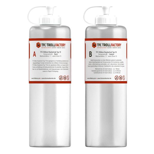 TFC Silikon Kautschuk Typ 19 glasklar transparent Shore 1zu1 Special Effect - Größe: 1kg (2x500g)