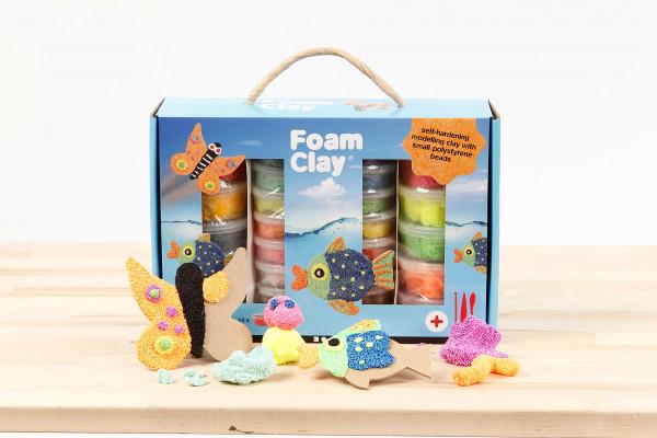 Foam Clay® - Geschenkbox Modelliermasse mit kleinen Perlen, lufthärtend in 28 Farben inkl. 3 Werkzeuge