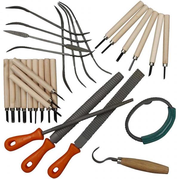 Speckstein - 31 tlg. Werkzeugset aus Feilen, Raspeln, Schnitzmesser, Schälmesser