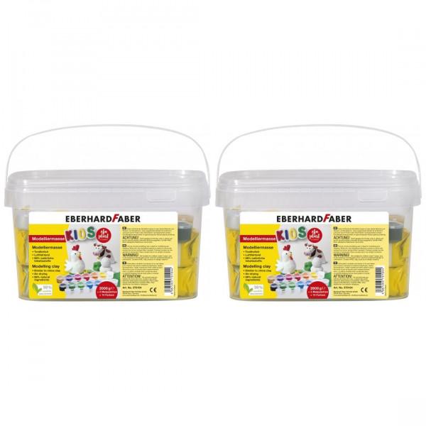 2 x EFA PLAST Kids Modelliermasse 2kg weiß + 14 Farben von Eberhard Faber
